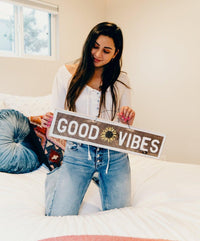 Good Vibes with sunflower wood sign | Weathered Signs