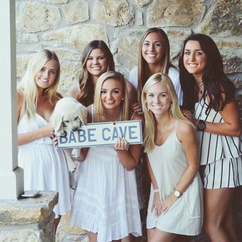 Sorority Wood Signs for Dorms - Babe Cave | Weathered Signs