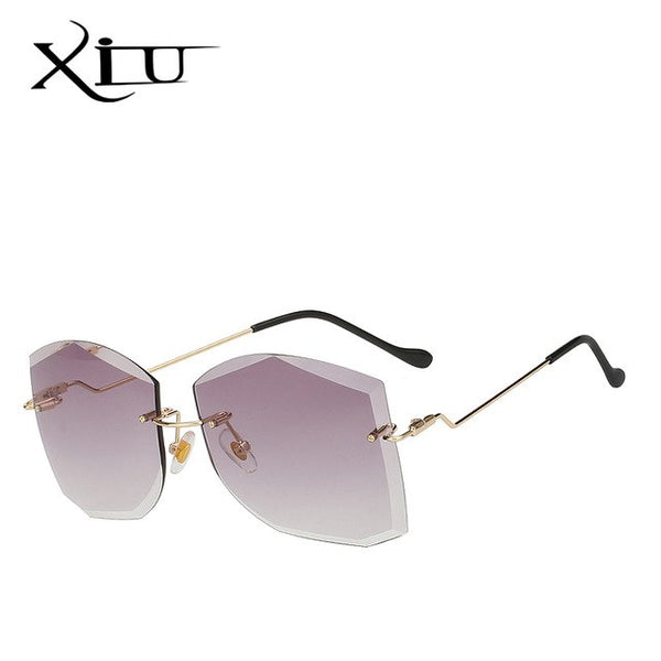 XIU Square Shade Rimless Women Sunglasses Brand Designer Top Quality Fashion Glasses Vintage Oculos UV400