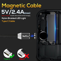 TOPK AM23 1M LED Magnetic Cable & Micro USB Cable & USB Type C Cable Nylon Braided Type-C Magnet Charger Cable for iPhone Xs Max