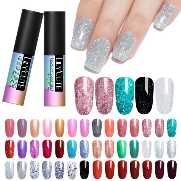 LILYCUTE Glitter Gel Nail Polish 5ML Soak Off UV Gel Nail Art Varnish Semi Permanent Gel Varnish Primer Manicure Lacquer