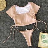 Peachtan T-shirt female swimsuit female Sports swimwear women bathing suit High cut bikinis 2019 mujer String thong bathers new