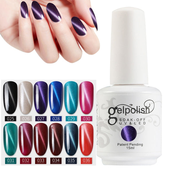 MEIKASAY Gel Nail Polish Manicure Cat Eyes Gel Nail Polish Need Top Coat Gel UV Soak Off Cat Eyes Gelpolish Nail Art