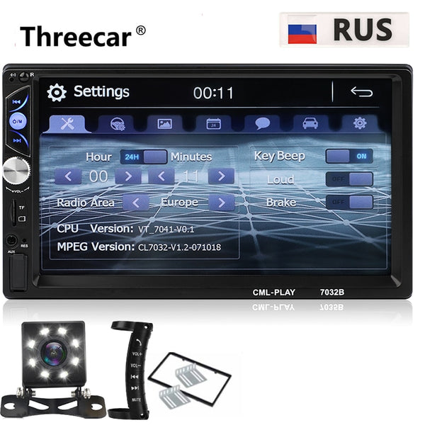 "Mais novo 2 din Autoradio Bluetooth Mirrorlink Estéreo Do Carro 7 ""HD MP5 Auto Multimídia Player Aux Entrada FM Receptor Com Câmera Traseira"