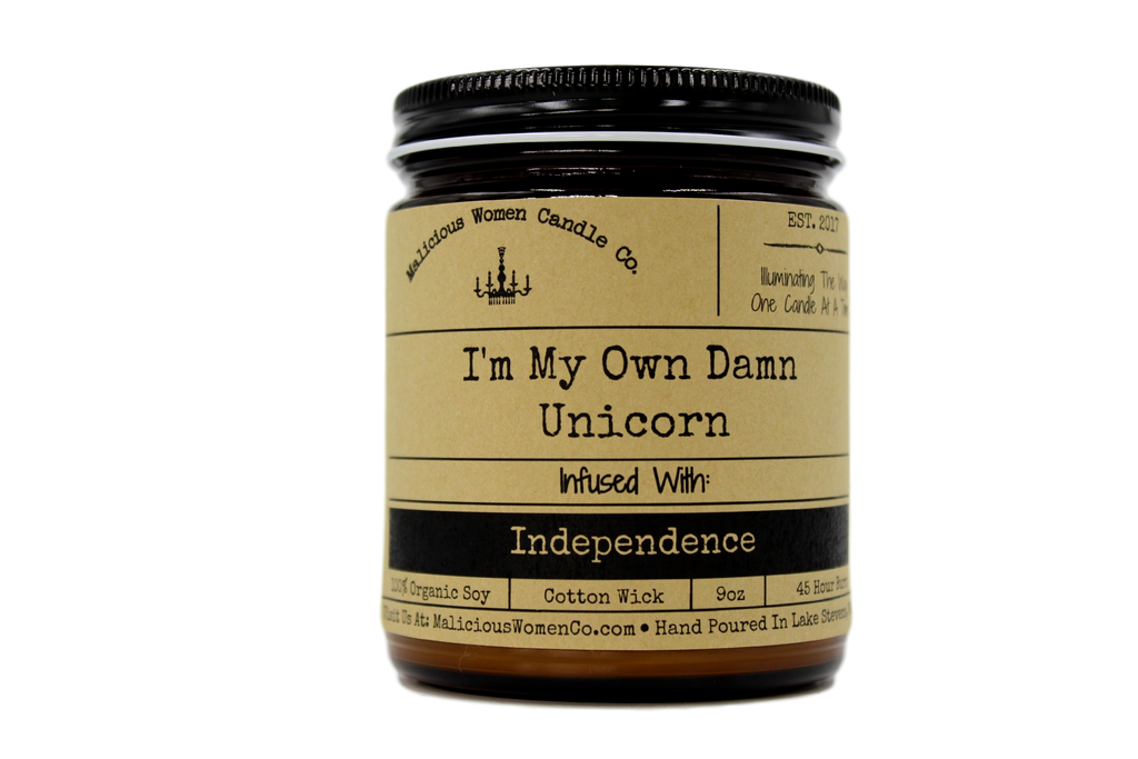 Malicious Women Candle co - I'm My Own Damn Unicorn - Infused with Independence