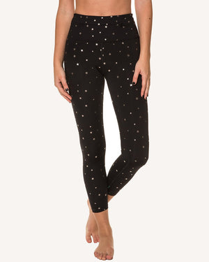 Metallic Star Printed 7/8 Pant - High Waist