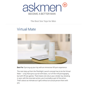 Virtual Mate is Featured as the Best Sex Toys for Men! - AskMen