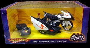 Batman HOTWHEELS 1966 TV Series BATCYCLE & SIDECAR 1:12