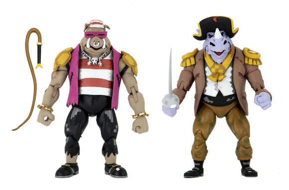 "NECA TMNT: Turtles in Time – 7"" Scale Action Figures – Pirate Rocksteady & Bebop 2 Pack"