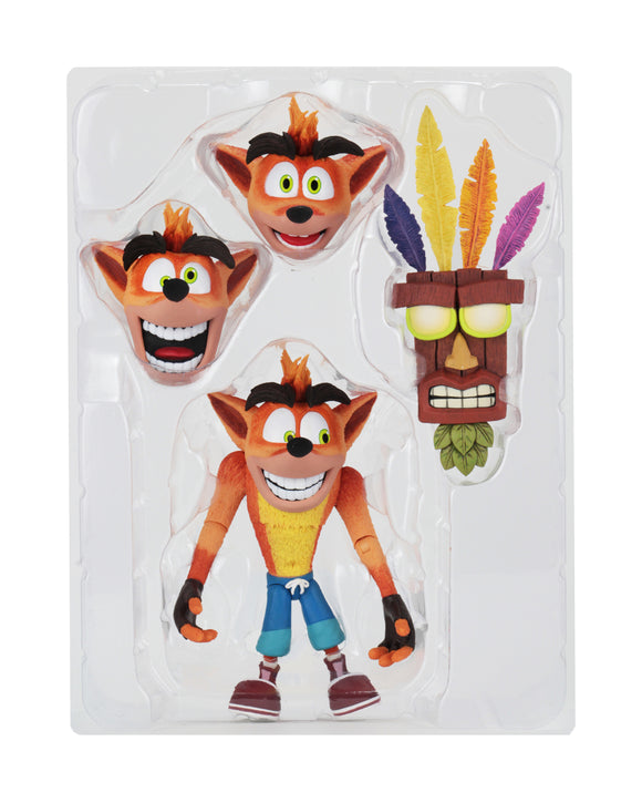 NECA Crash Bandicoot – 7″ Scale Action Figure – Ultra Deluxe Crash with Aku Aku Mask