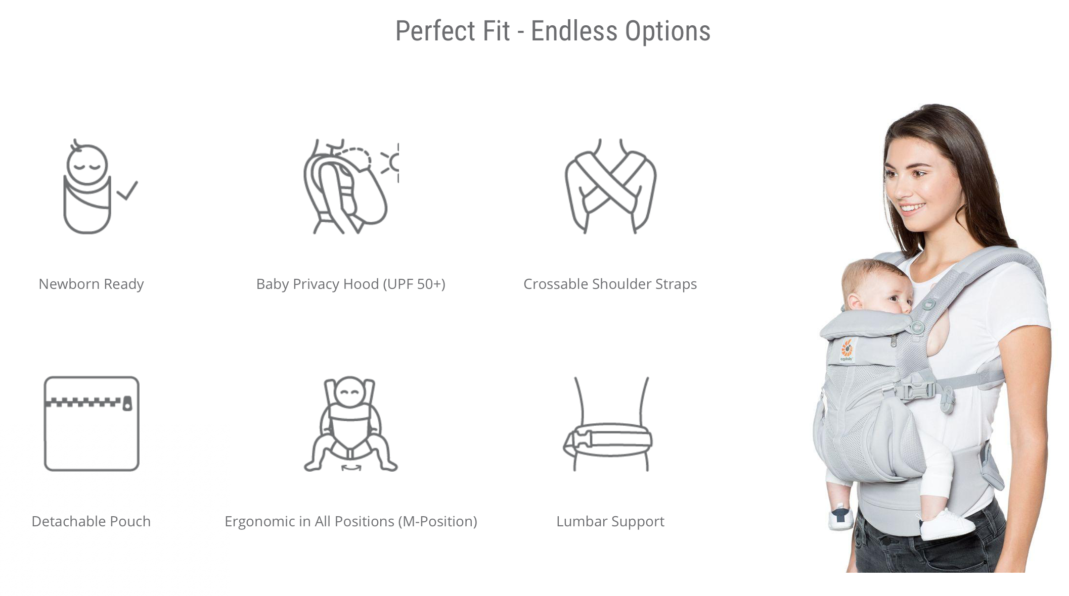 Ergobaby Omni 360 Baby Carrier Cool Air Mesh Onyx Black | Baby Little Planet | ergobaby | Baby Carrier