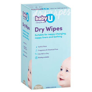 Baby U Dry Wipes 100 Pack-Bath Time - Wipes-Baby Little Planet