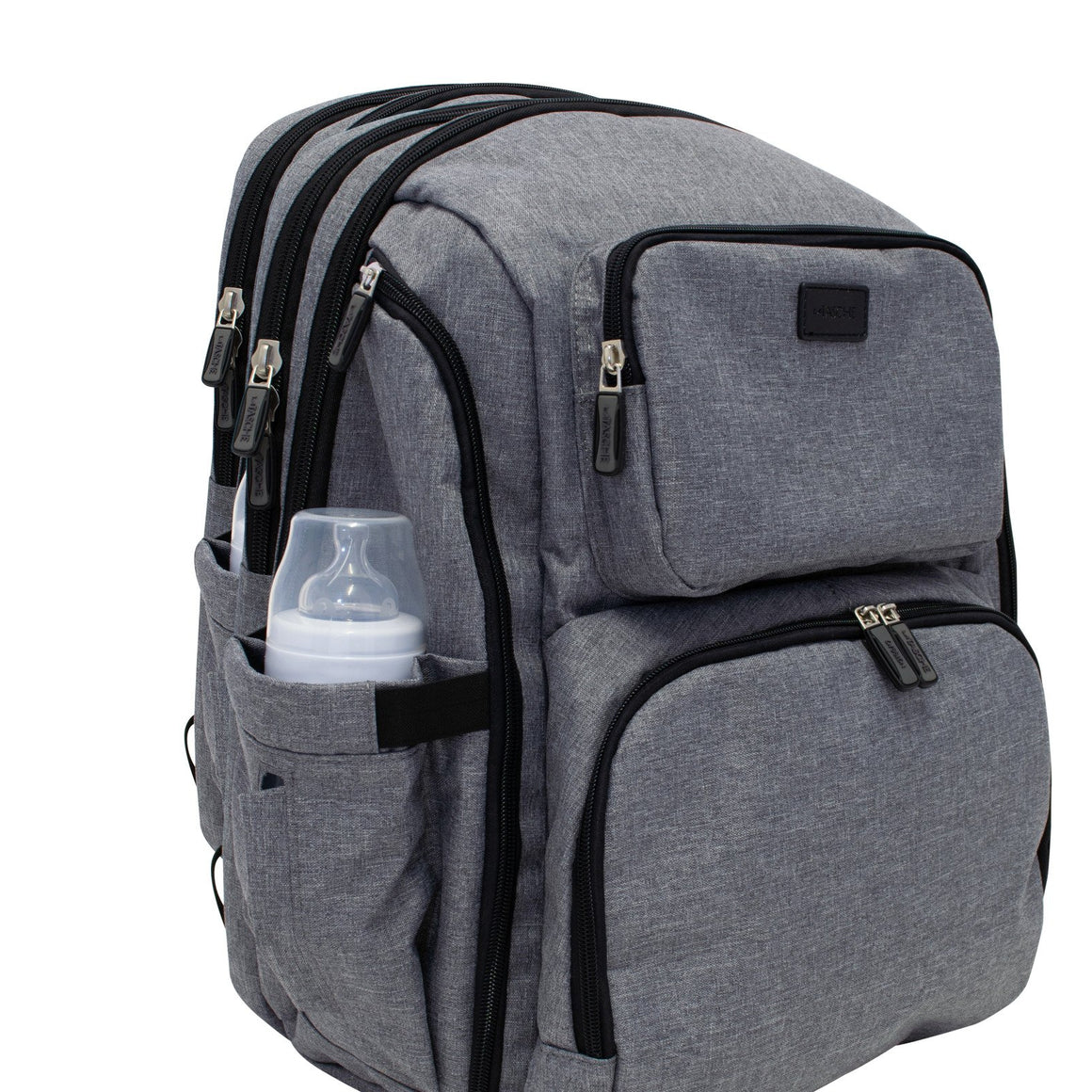 La Tasche Iconic Backpack, Grey with Black trim | La Tasche | Baby Little Planet Store Hoppers Crossing