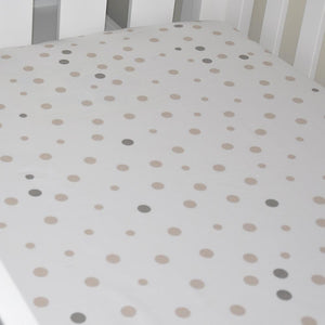 Little Turtle Baby Fitted Cot Sheet (Rect) Beige & Grey Spot-Bedtime - Cot Sheets-Little Turtle Baby | Baby Little Planet