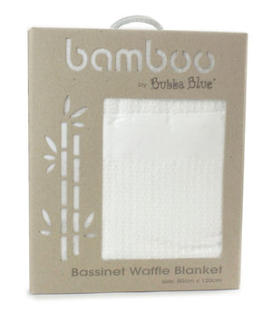 Bubba Blue Bamboo Cot Waffle Blanket, White-Bedtime - Blankets-Baby Little Planet