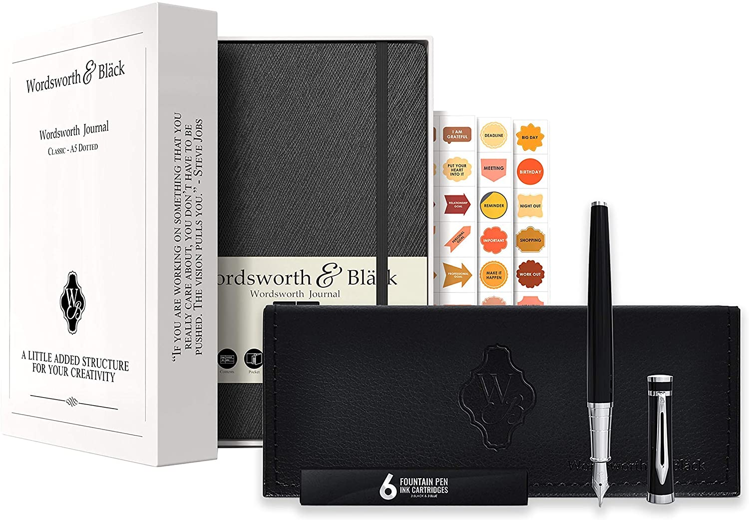 Fountain Pen Set-[Black Chrome] and Premium Bullet Grid Dotted Journal Bundle