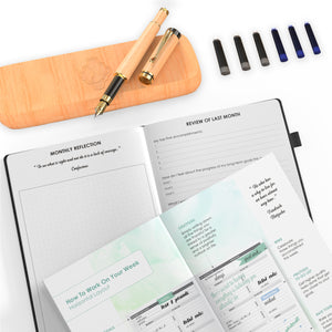 Wooden Fountain Pen and Weekly, Monthly Planner Bundle