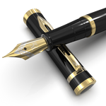 Erudite Fountain Pen - Midnight Black Gold Trim