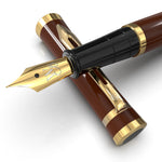 Wordsworth & Black Fountain Pen Set[Brown Gold]-Medium Nib-Journaling and Calligraphy-Smooth Writing Pens- 6 Free Ink Cartridges & Ink Refill Converter-Luxury Gift-Perfect for Men & Women