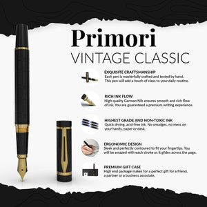 Wordsworth & Black Primori Fountain Pen Set [Black Gold]; Medium Nib, Gift Case, 6 Ink Cartridges, Refill Converter, Manual; Journaling, Calligraphy, Smooth Writing Pens; Left and Right Handed