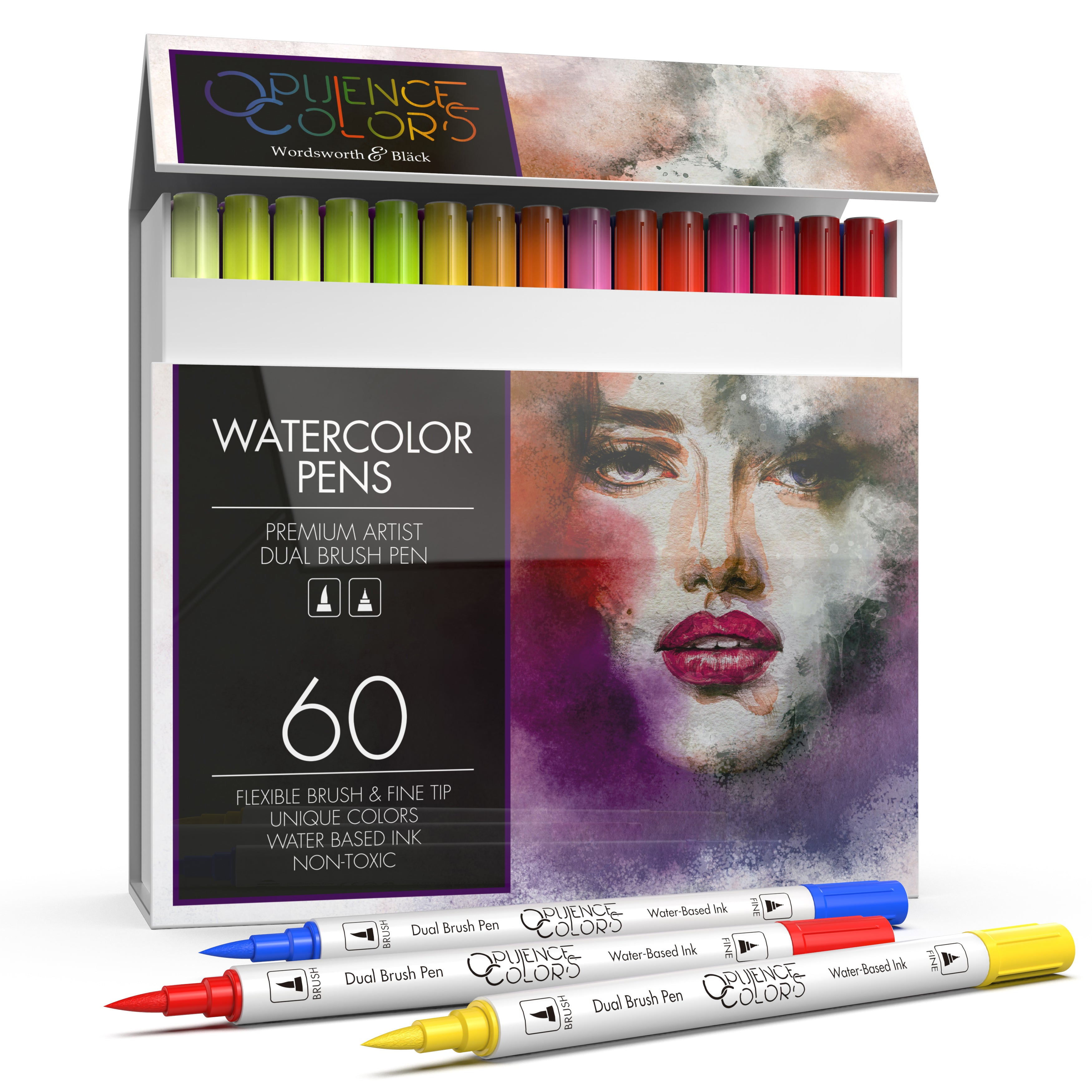 Professional Watercolor Dual Tip Brush and Fineliner Pens