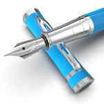Erudite Fountain Pen – Sky Blue Chrome Trim