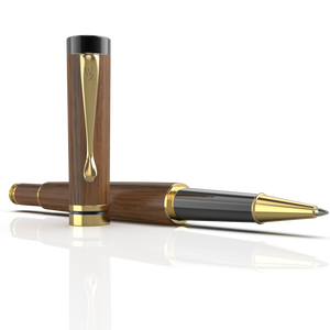 Wordsworth & Black Luxury Wooden Bamboo Rollerball Pen Refillable Calligraphy Pen Converter - Smooth Ink Pen Flow For Precise Writing, Calligraphy, Journaling, Drawing - Brownwood Gold Trim