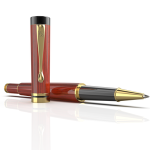 Wordsworth & Black Luxury Wooden Bamboo Rollerball Pen Refillable Calligraphy Pen Converter - Smooth Ink Pen Flow For Precise Writing, Calligraphy, Journaling, Drawing - Rosewood Gold Trim