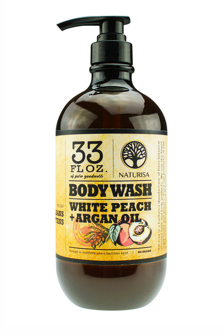 BODY WASH with Argan Oil. 33oz - White Peach