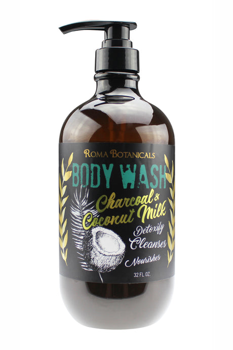 CHARCOAL BODY WASH. 33oz - Charcoal & Coconut Milk