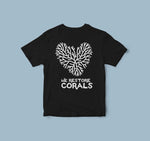 kids coral heart black tee
