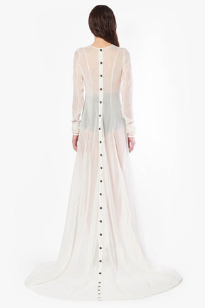 Back Buttons Long Dress