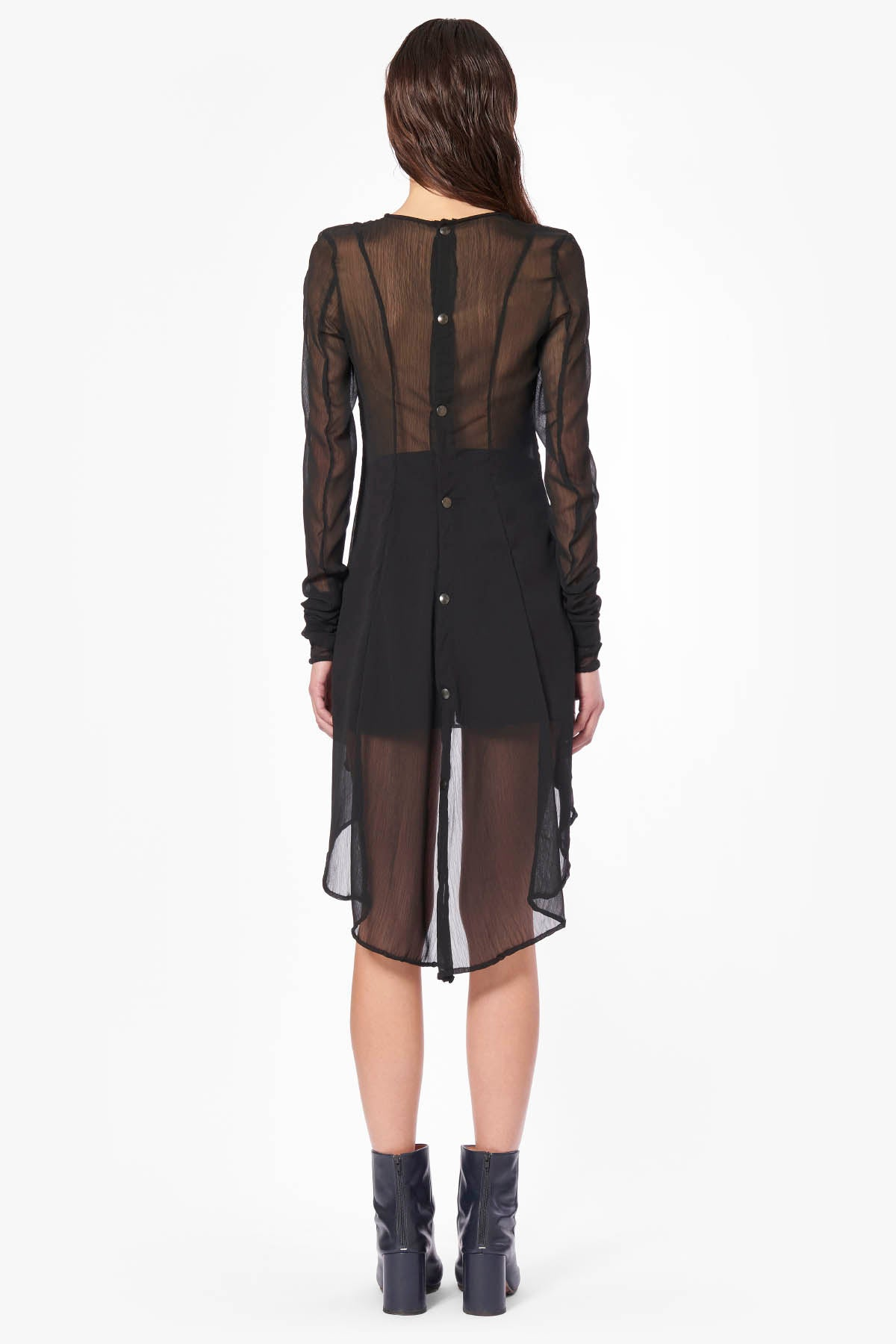 Back Buttons Transparent Dress