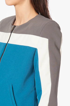 Tricolor Constructed Bomber Jacket