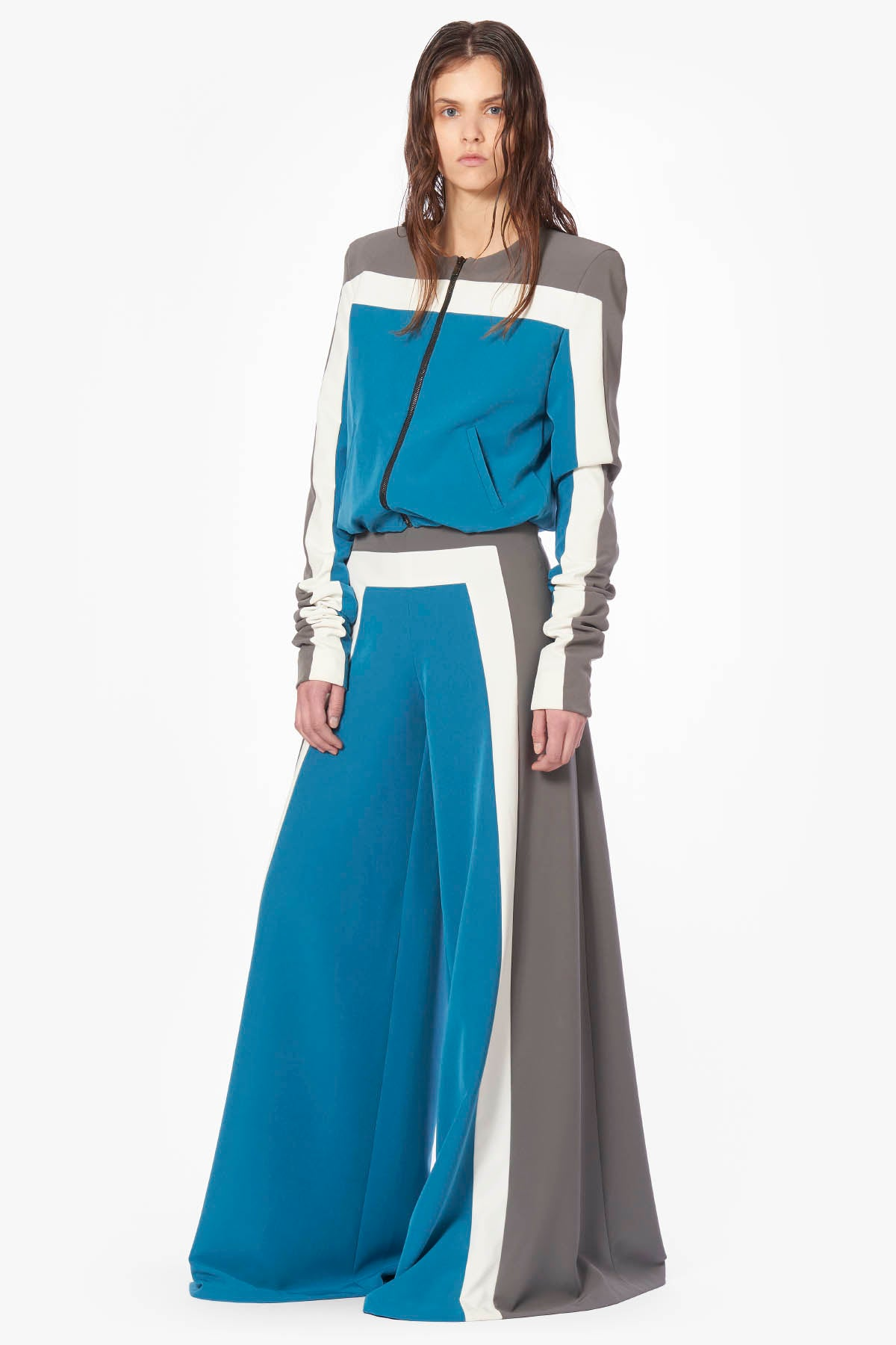 Tricolor Constructed Wide Pants