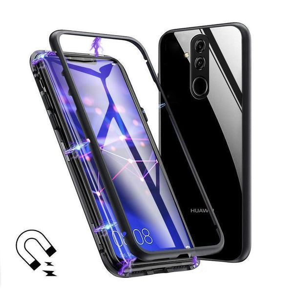 Metal Magnetic Adsorption Frame Clear Tempered Glass Phone Cases For Huawei Mate 20