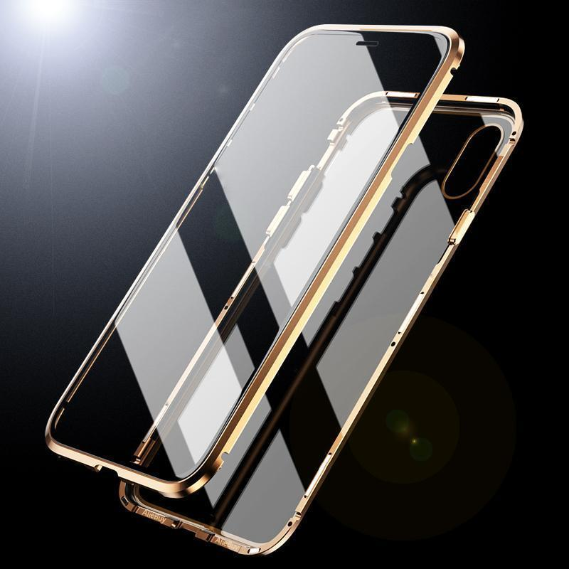 Magnetic Adsorption Transparent Tempered Glass Two side Glass Cover Phone  Case For iPhone X XS MAX 7 8 Plus