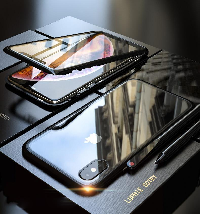 70eaaa57677 Original Magnetic Adsorption Transparent Tempered Glass Two side Glass Cover  Phone Case For iPhone X XS