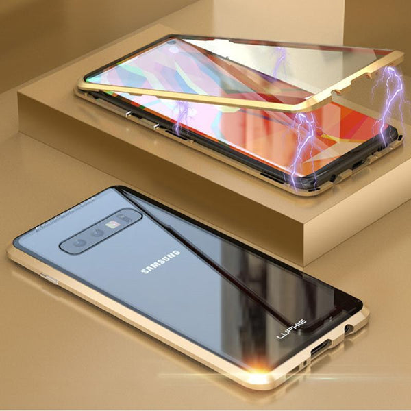 Magnetic Adsorption Transparent Tempered Glass Two side Glass Cover Phone Case For Samsung S10/S10PLUS/S10e