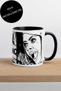 Monochrome Mug with black rim, handle and inside and Cui bono print
