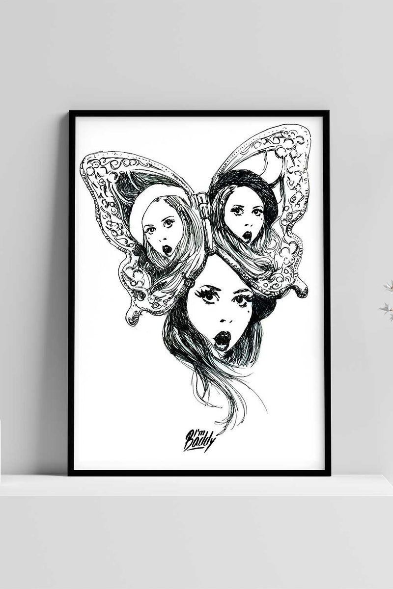 Monochrome Butterfly Illustration Poster