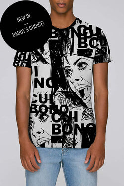 Monochrome Men's T-shirt with Cui Bono print