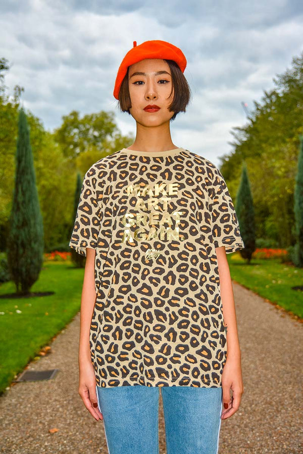 Make Art Great Again leopard gold t-shirt
