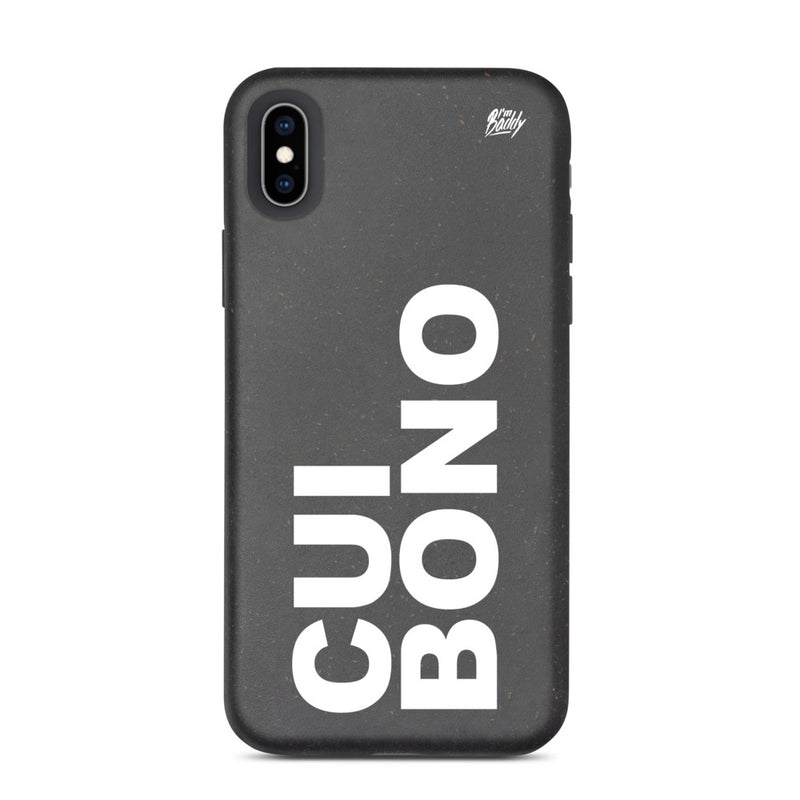 Biodegradable phone case with cui bono slogan