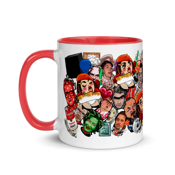 Art World Game Mug with red rim, handle, and inside