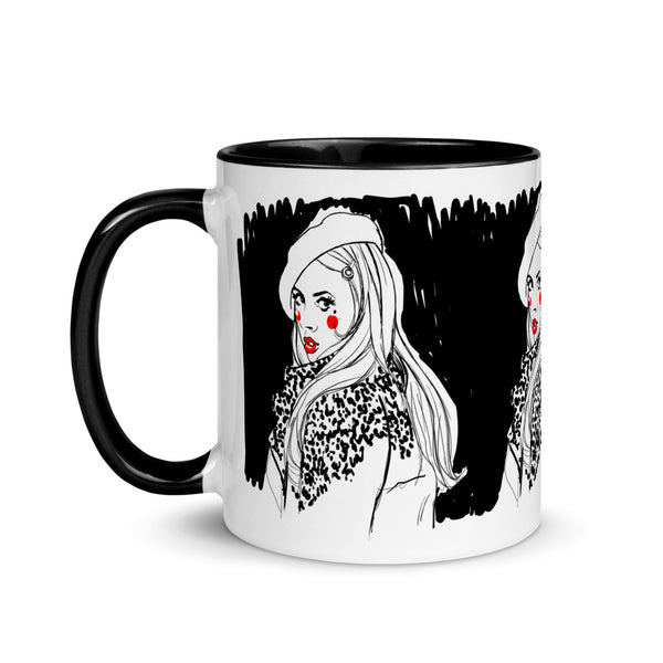 Monochrome Mug with black rim, handle and Inside, Vice Versa Print