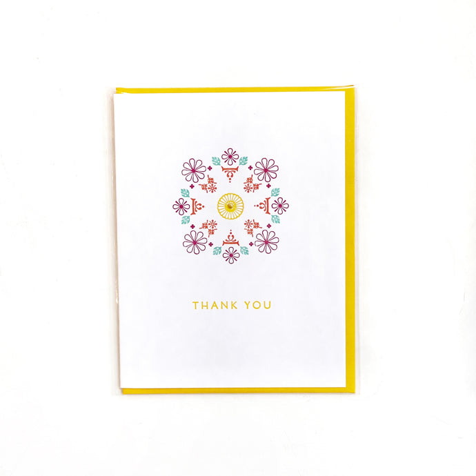 Thank You Mandala Vintage Letterpress Card