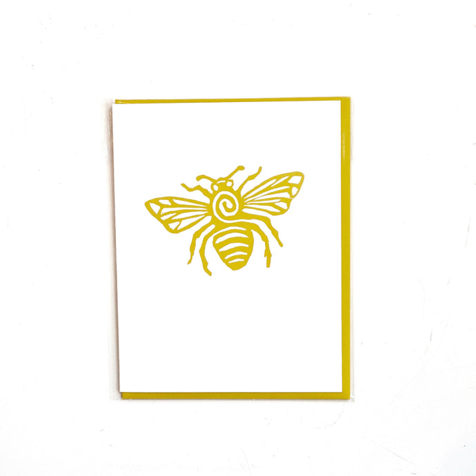 Yellow Bee Linoleum Carving Vintage Letterpress Card