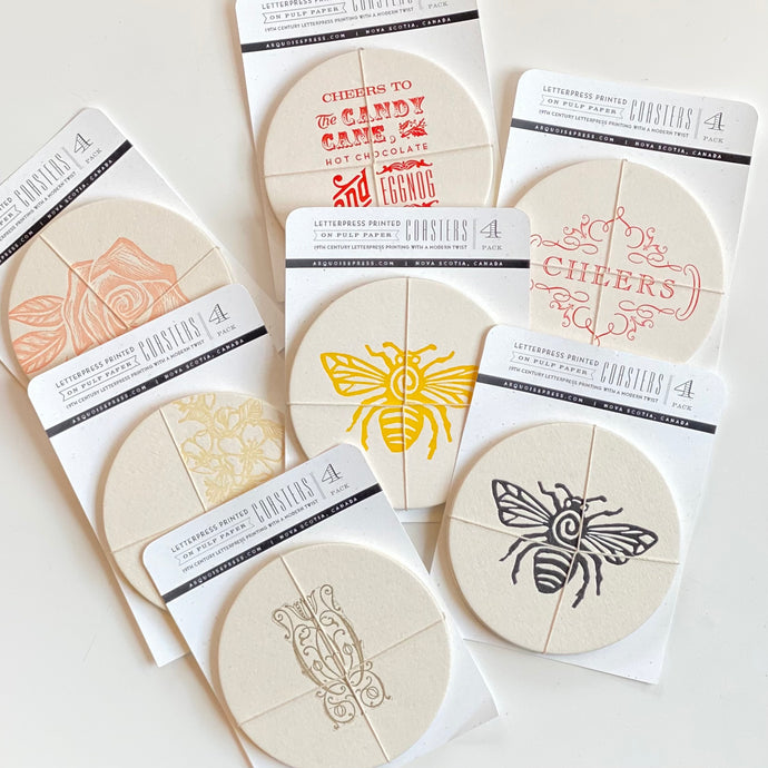 Letterpress Drink Coasters