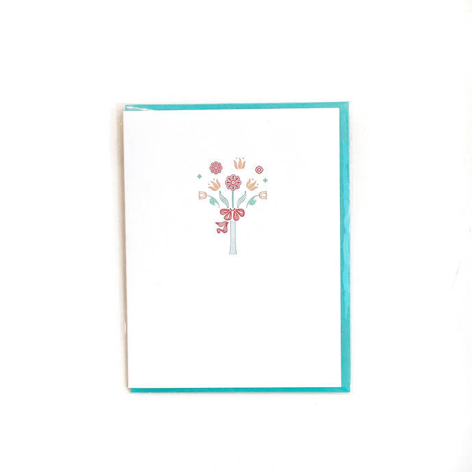 Flower Bouquet Vintage Letterpress Card